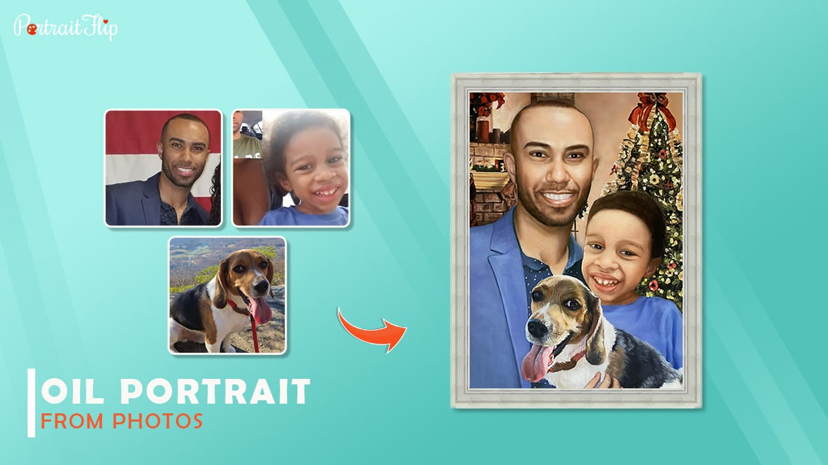 A marvelous Christmas painting made by Portraitflip shows a man smiling with his daughter and a pet.
