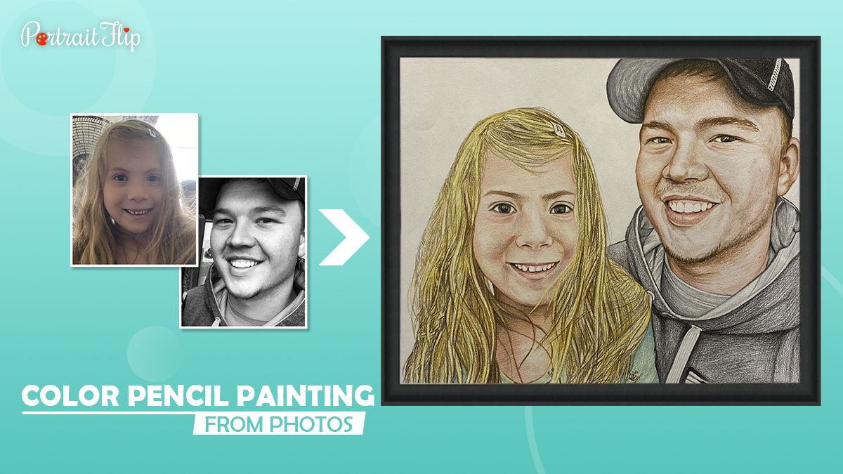 Two photos are compiled into a beautiful handmade color drawing by Portraitflip.