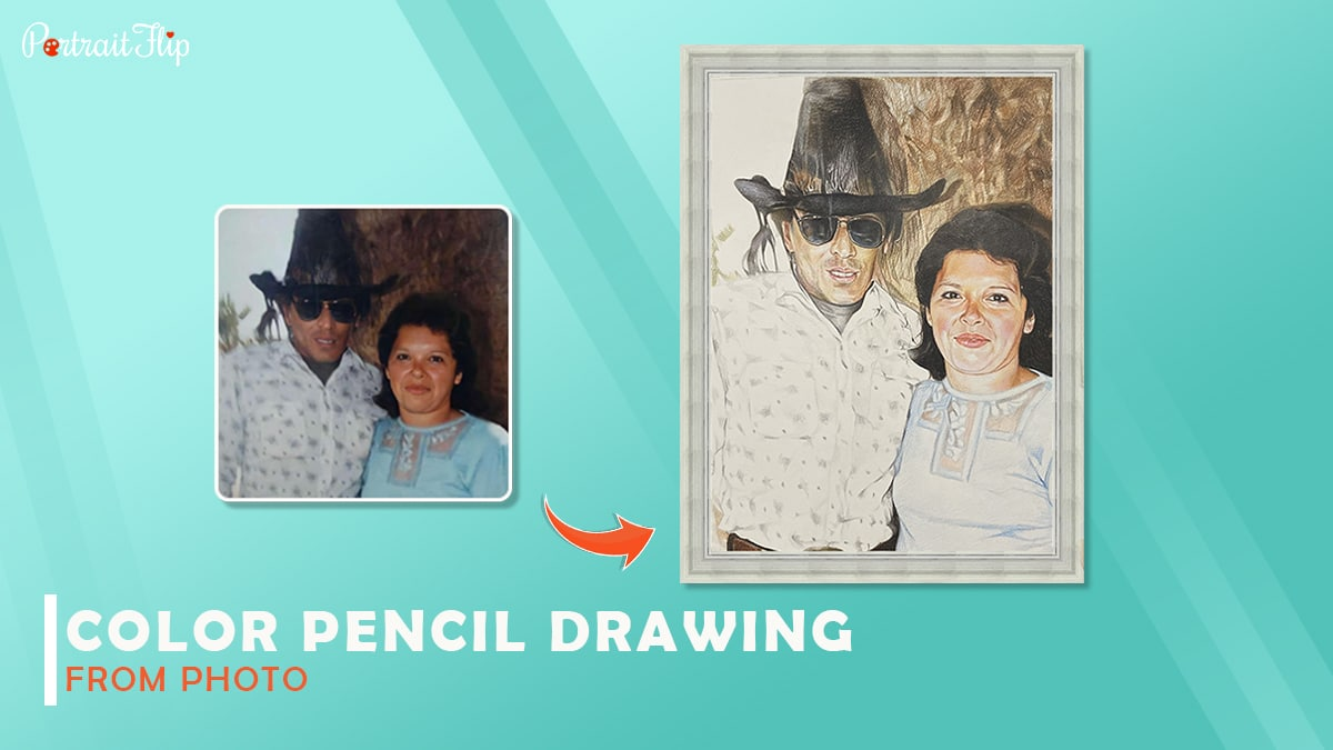 A splendid color pencil drawing by Portraitflip shows a couple standing on a brown background.
