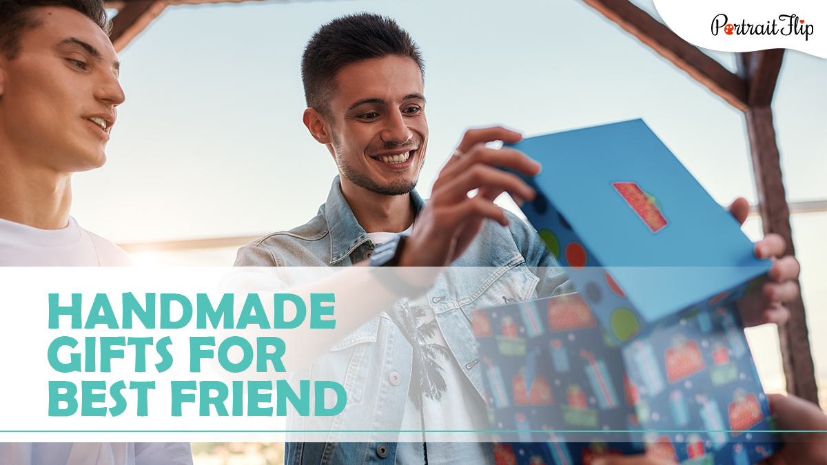 Handmade gifts for best friends: Two guys smiling and opening a blue color gift box.