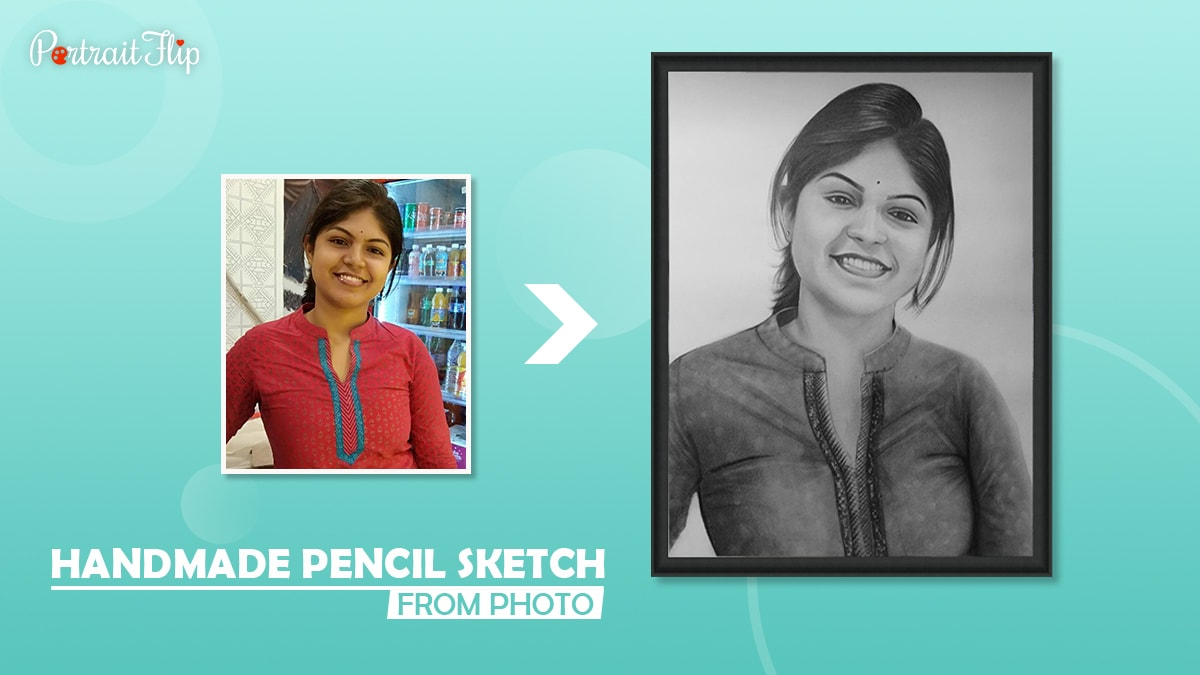A simple photo is turned into an elegant handmade pencil sketch by Portraitflip.