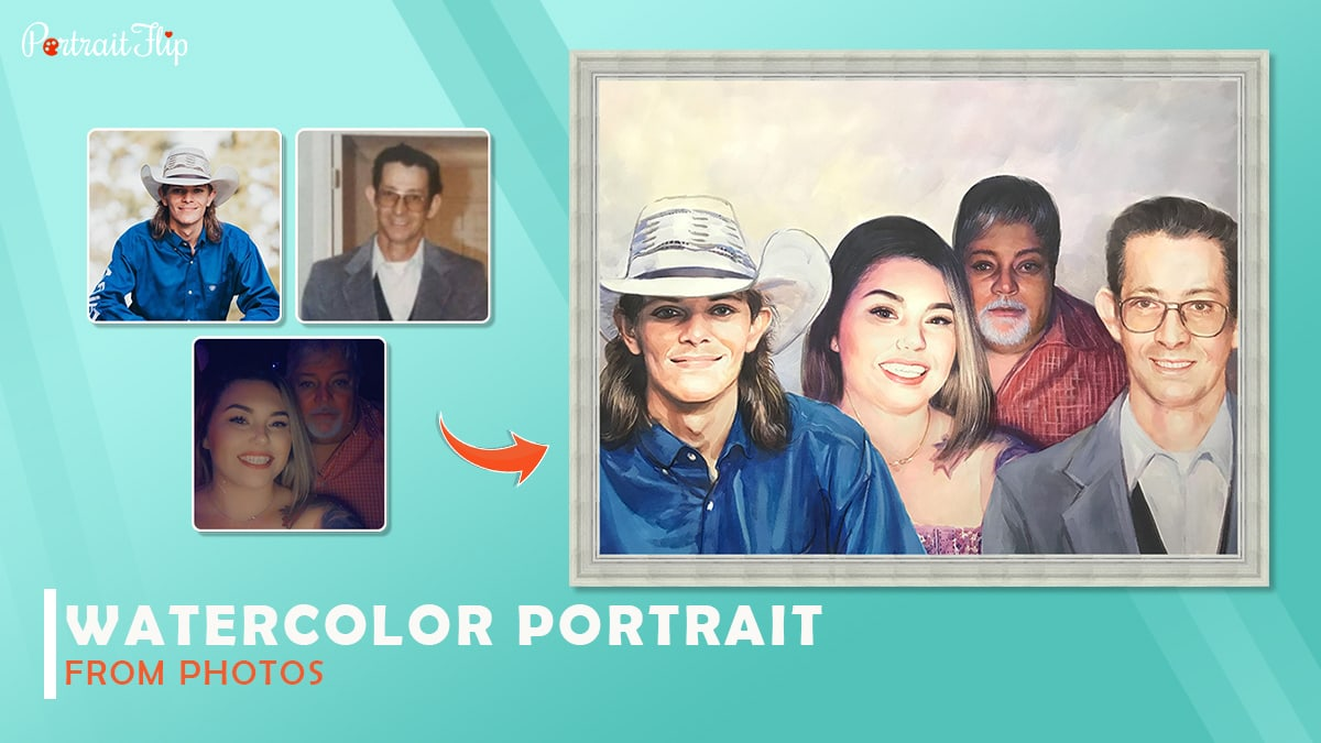 There is a watercolor portrait made by compiling three photos by Portraitflip.