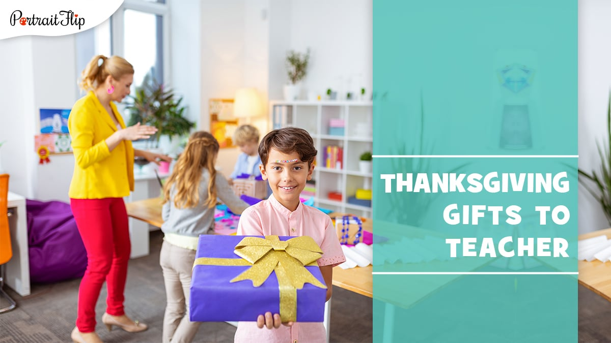 a kid showing thanksgiving gift to teacher.