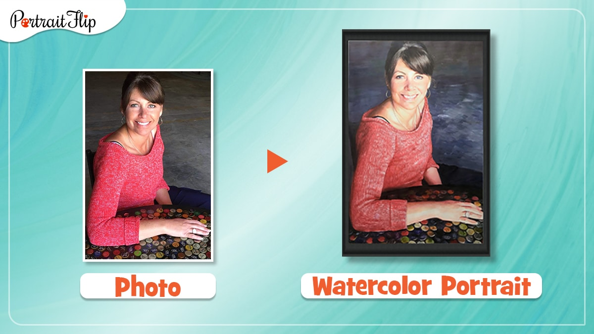 a photo of teacher in red dress is turned into a watercolor painting by artists of portraitflip