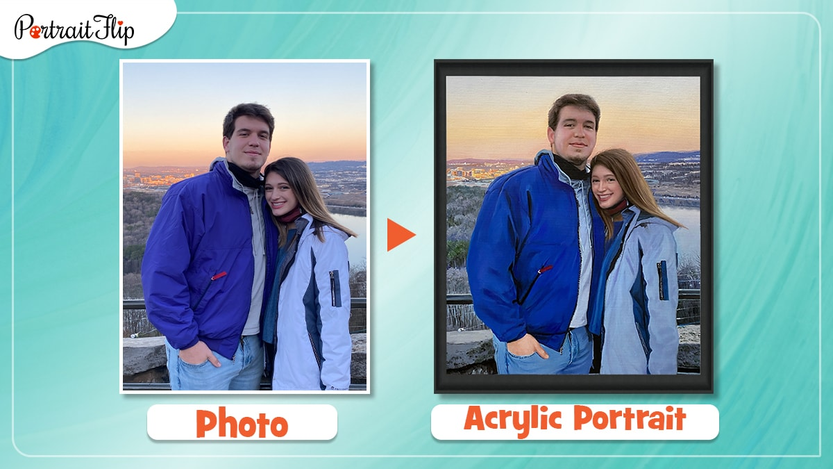 a photo of a couple is made into a handmade acrylic painting by artists of portraitflip