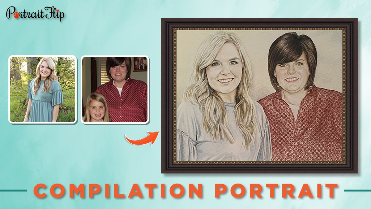 Color pencil portrait from photo of a mother and a daughter.
