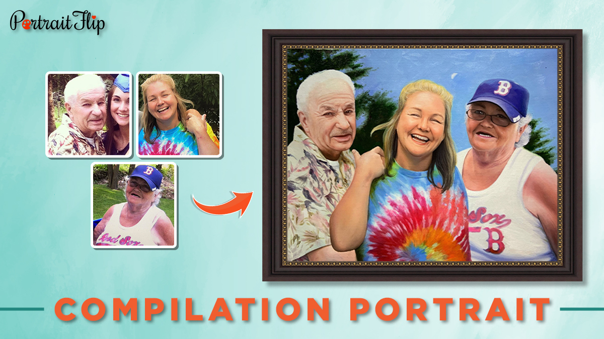 Compilation Family Portrait From photo of two women and an old man for PortraitFlip's 30 under 30.