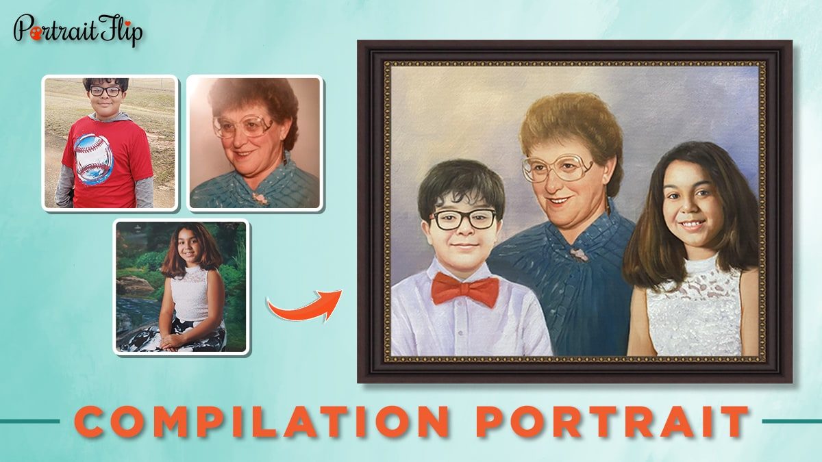 Compilation portrait of an old woman, a young girl and a boy for 30 under 30.