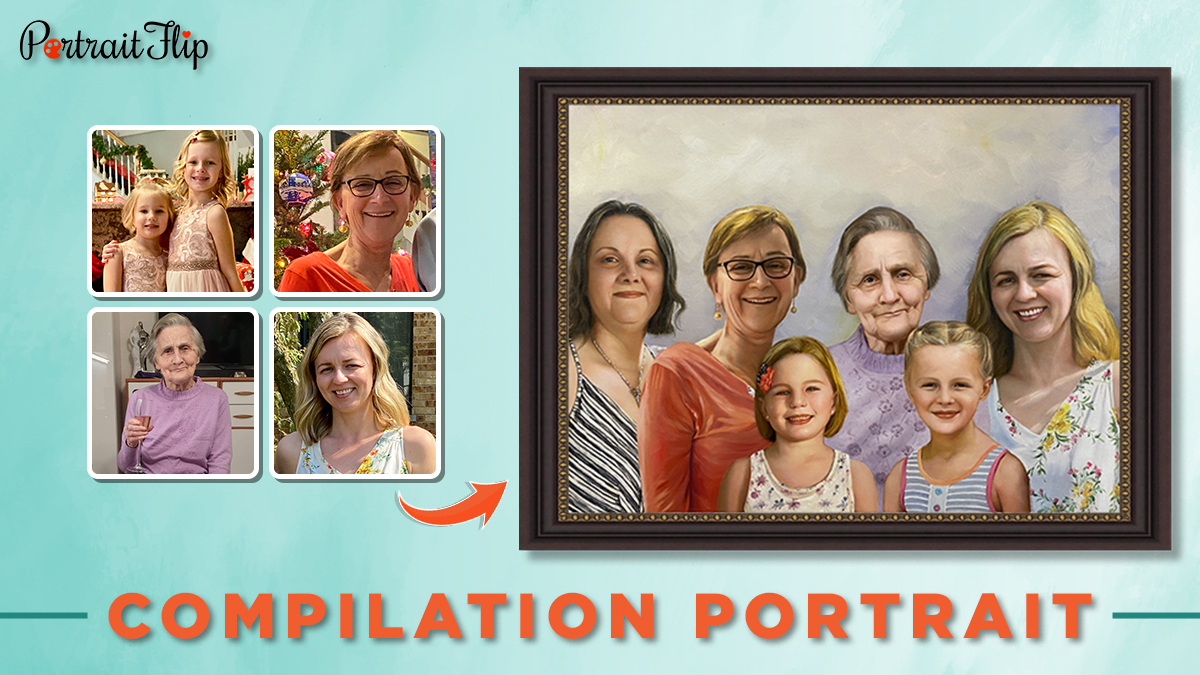 Compilation portrait painting of 6 people