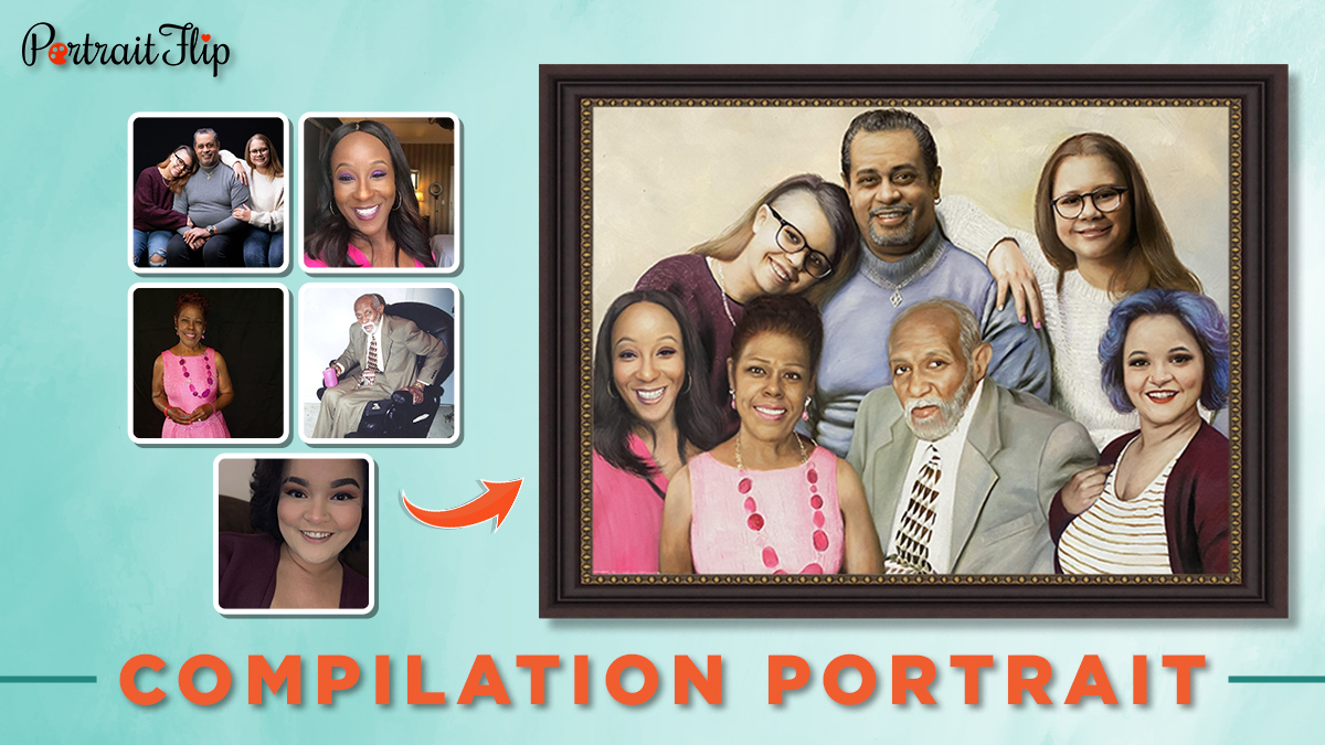Family portrait from multiple photos of two men and five women.