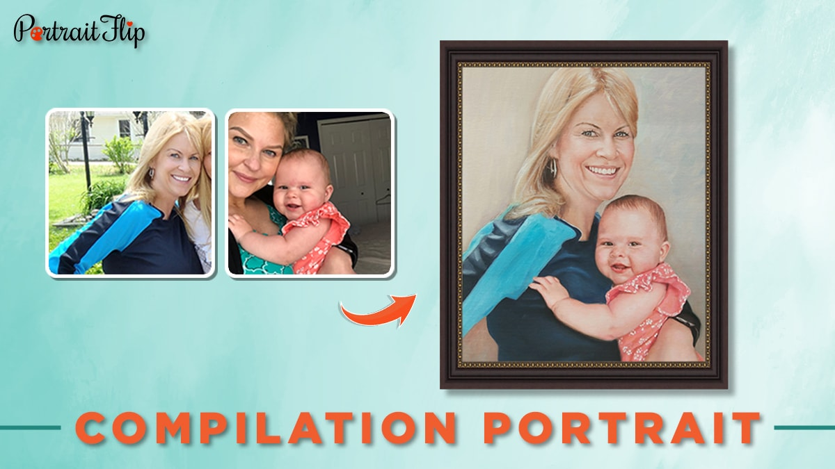 Compilation portrait from photo of a woman and a baby.