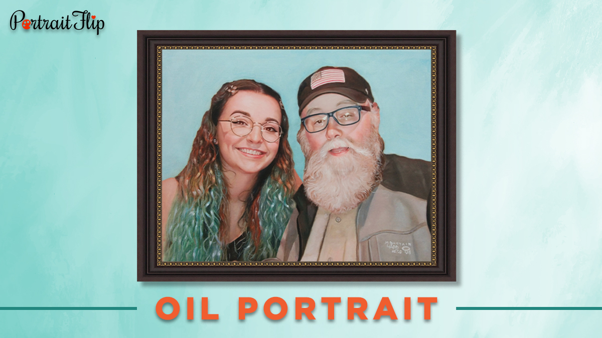 30 under 30 oil portrait of a girl and an old man with a frame on a blue background.
