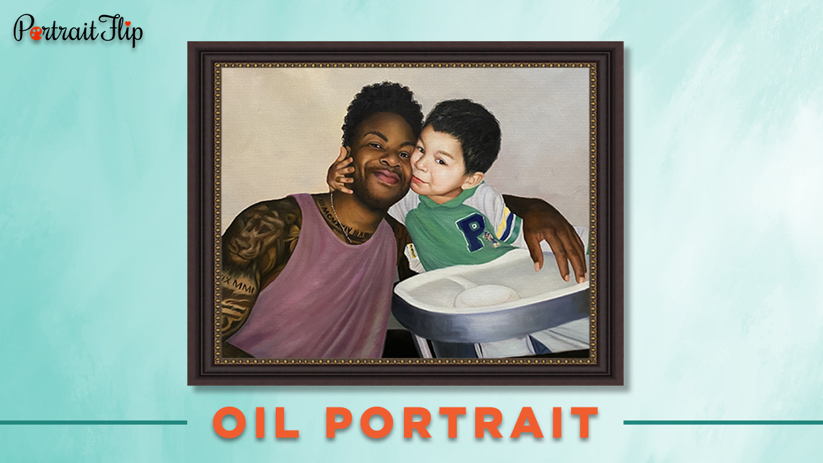 Father and son oil portrait from photo for 30 under 30.