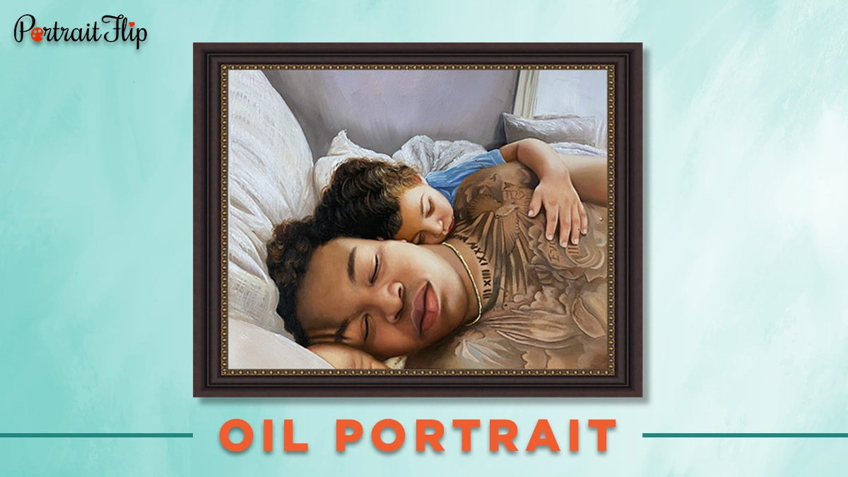 Oil portrait of a father and his son sleeping.