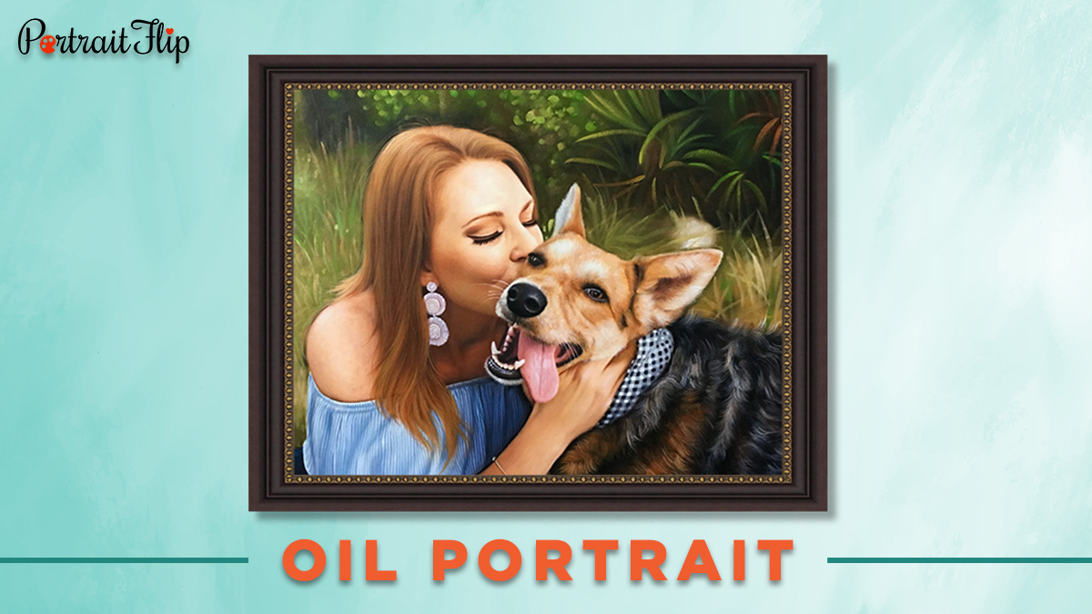 Pet oil portrait from photo of a woman and her dog.
