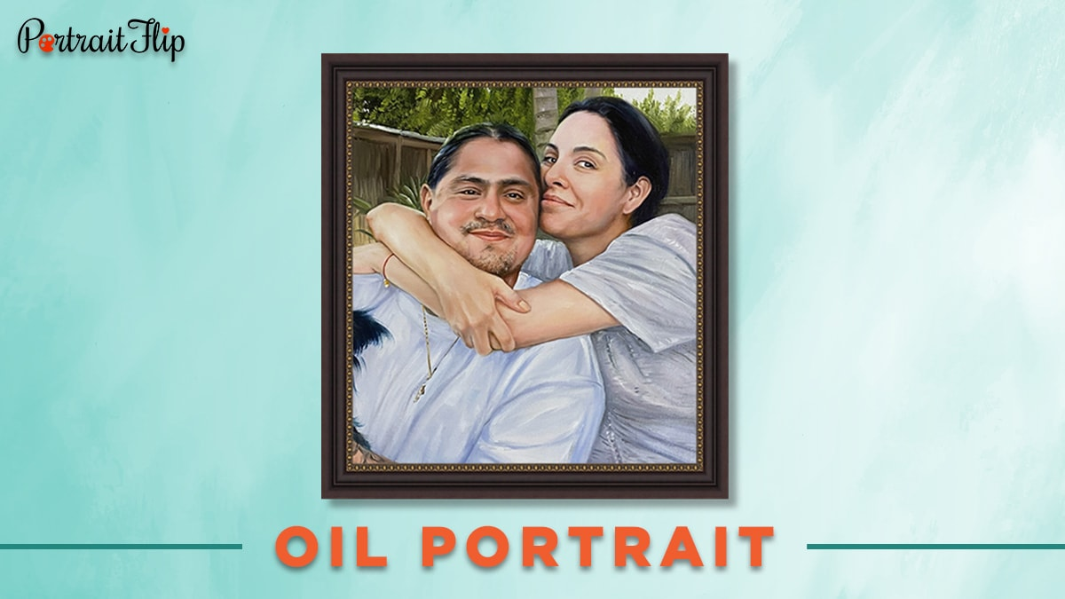 An oil portrait from photo of a woman and a man
