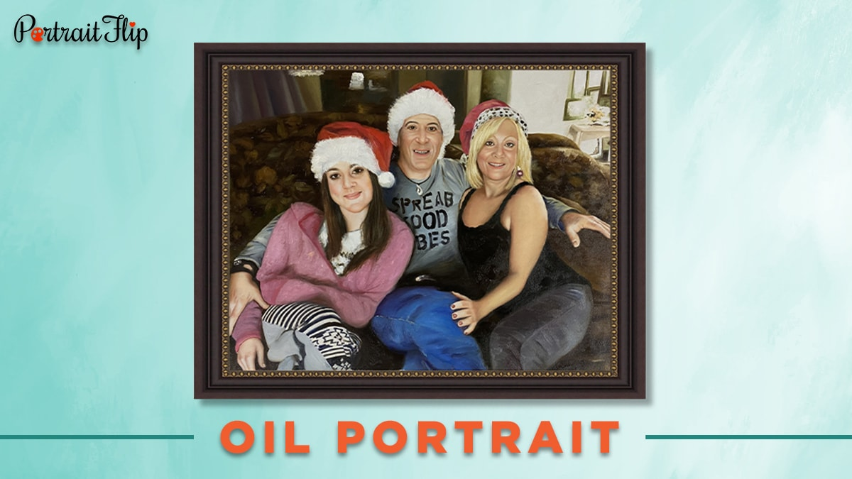 Oil portrait from photo of a man and two women wearing christmas hat.