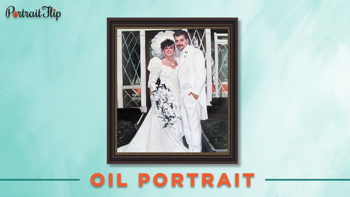 Oil portrait of a couple on his wedding day.