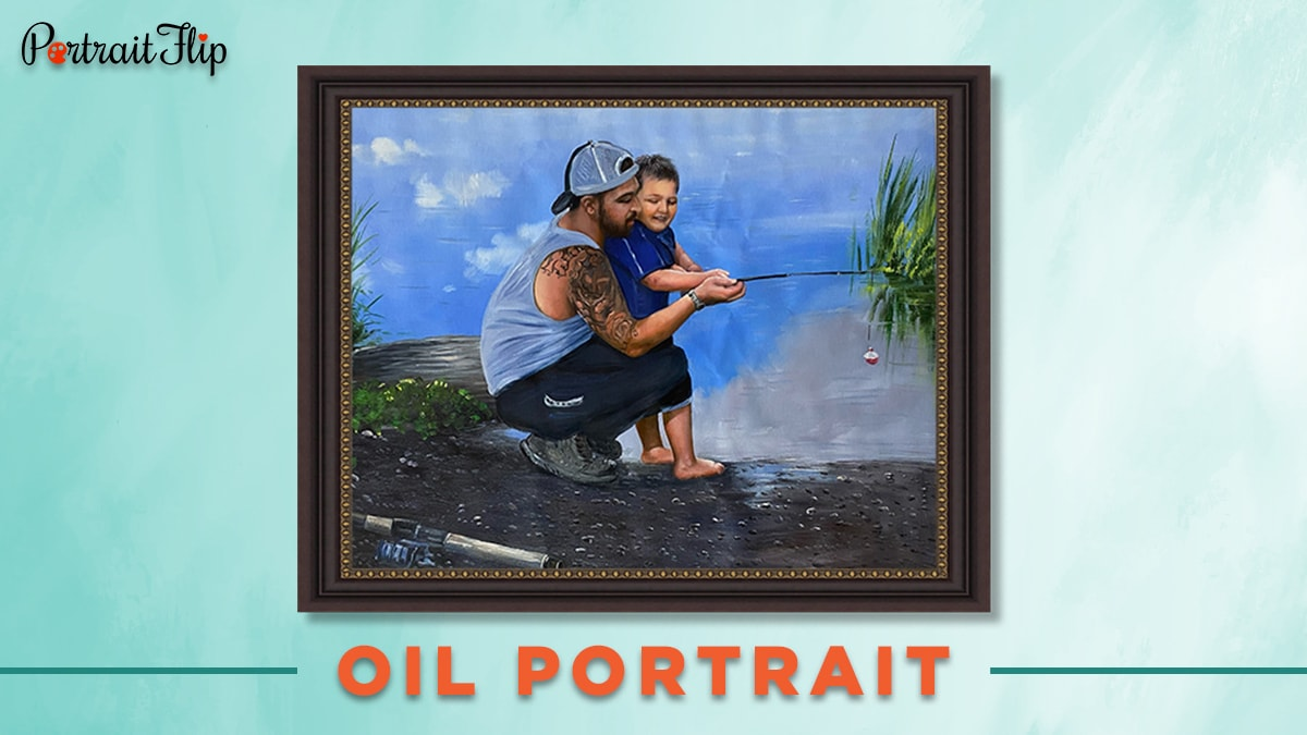Oil portrait of a man and a young boy for our 30 under 30.
