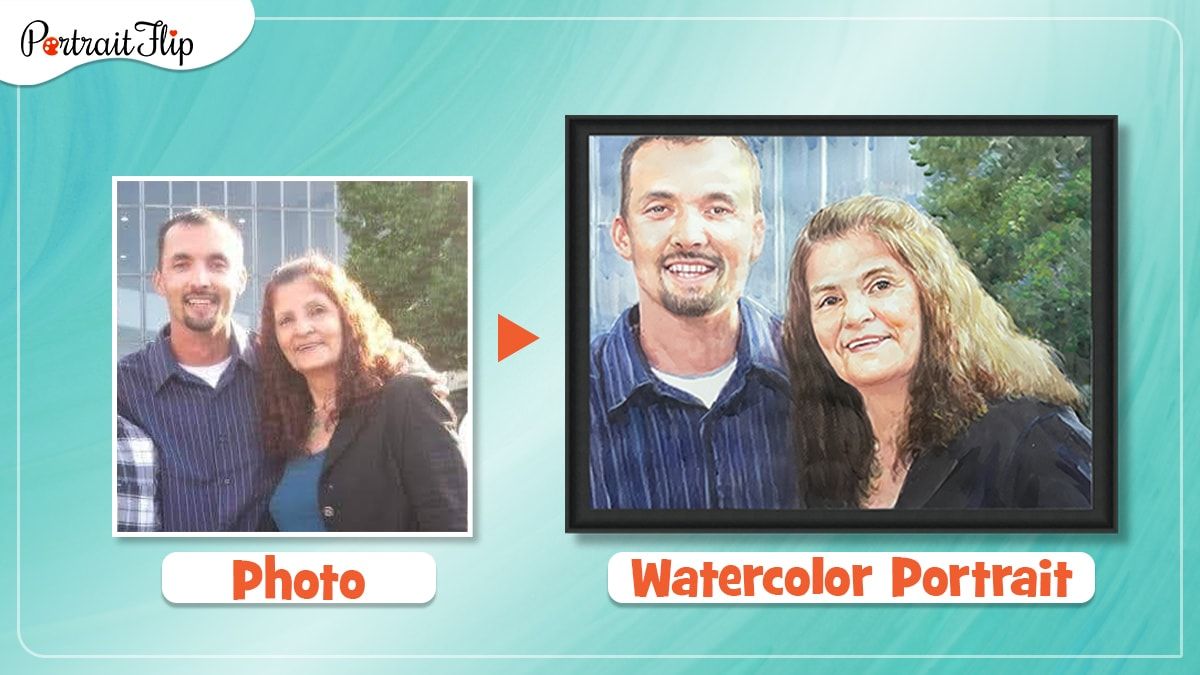 an old photo of a woman and man is turned into a watercolor portrait by artists of portraitflip.