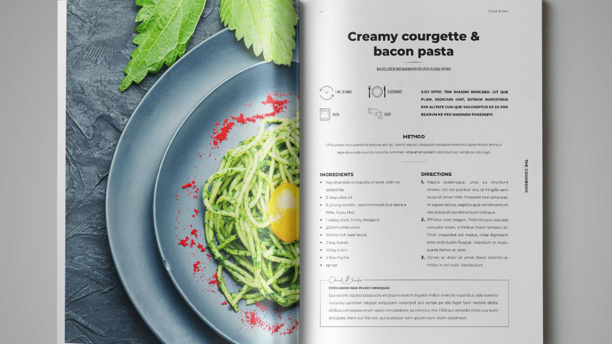 There is a recipe book with a green color cover photo.