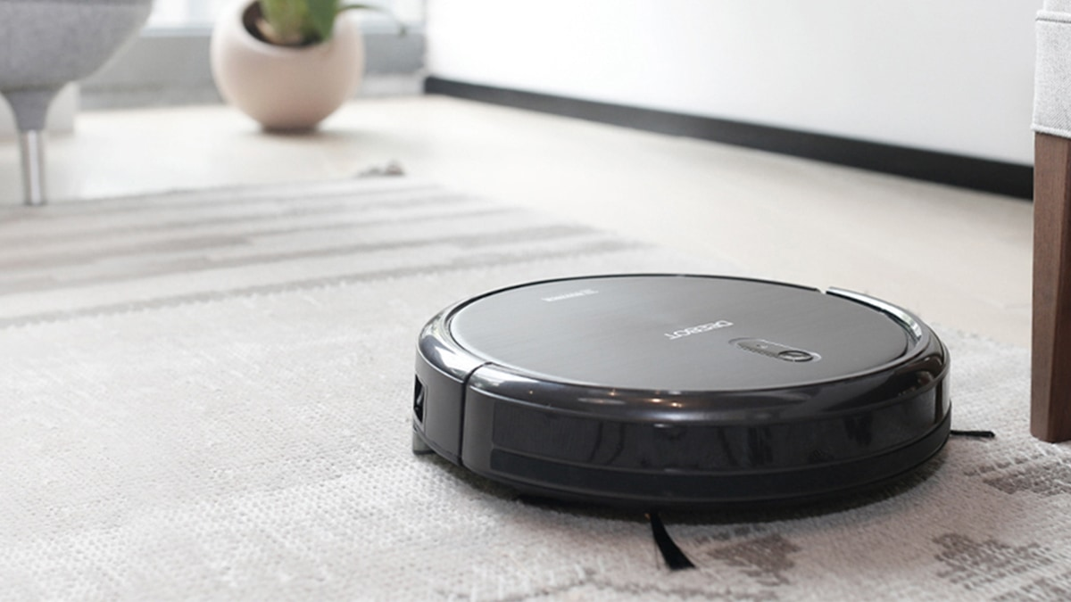 A robot vacuum cleaning the floor