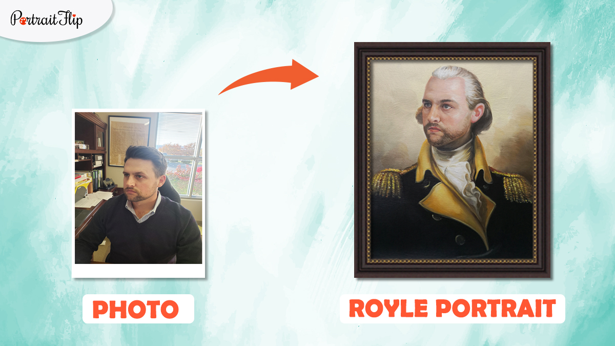 a photo of a man is converted into a Royal Portrait by artists of portraitflip.