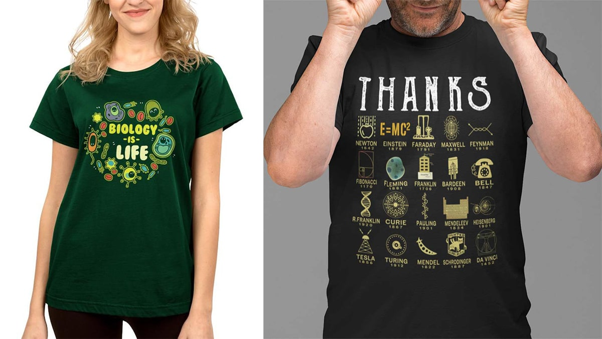 """A woman wearing a green colored """"biology is life """"t-shirt. On the right side, a guy wearing a black science t-shirt."""