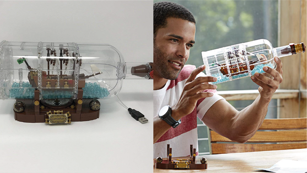 on left: ship in a bottle. on right: a man building the ship in bottle