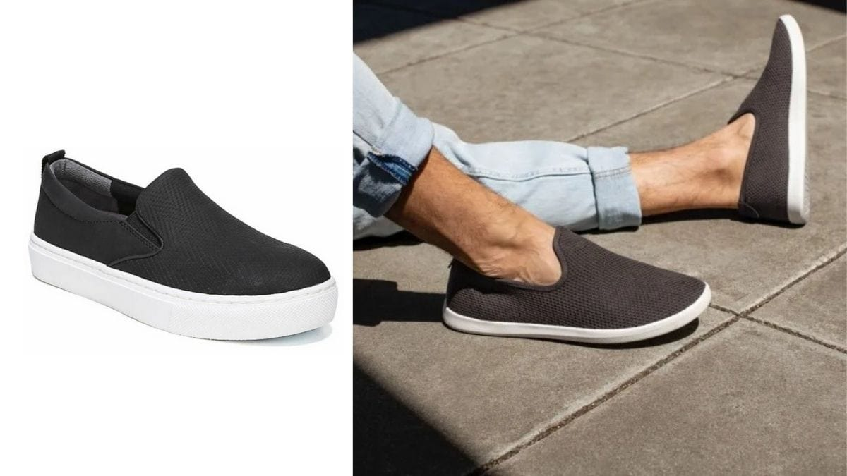 On the left: a black slip-on is presented against a white background. On the right: a close up of a guy in sky blue jeans wearing the same black slip-ons.