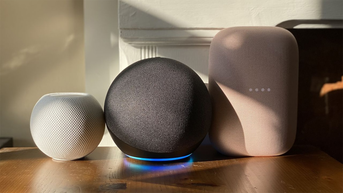 smart speakers laid side by side.