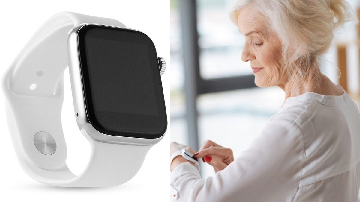 On left: a white Smart watch against a white background. On Right: a grandma operating a white smartwatch.