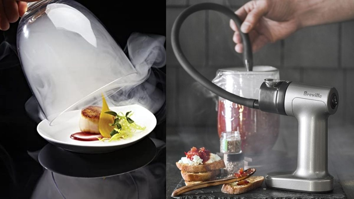 on the left side: smoke escaping though the glass giving the food a cool look. On the right: a person using smoke gun to fill the food jar with the smoke