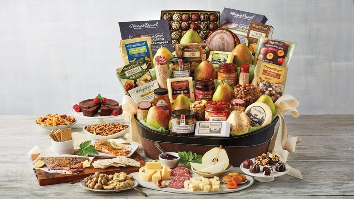 snack basket with assorted snacks on a table
