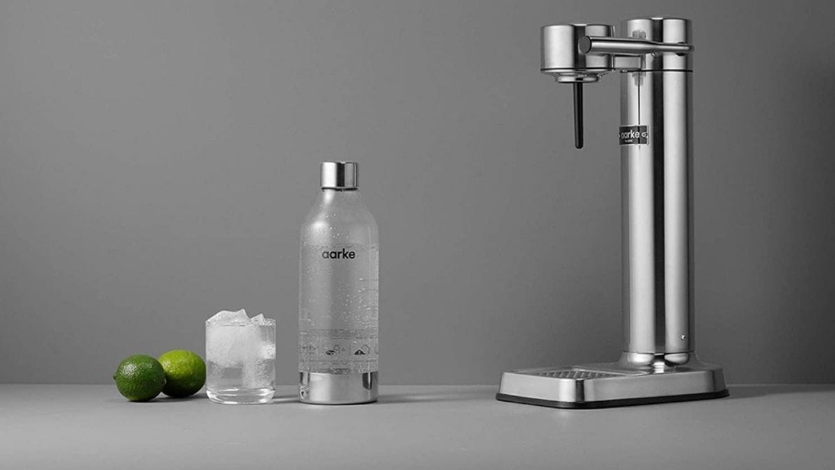 Sparkling water maker on a table.