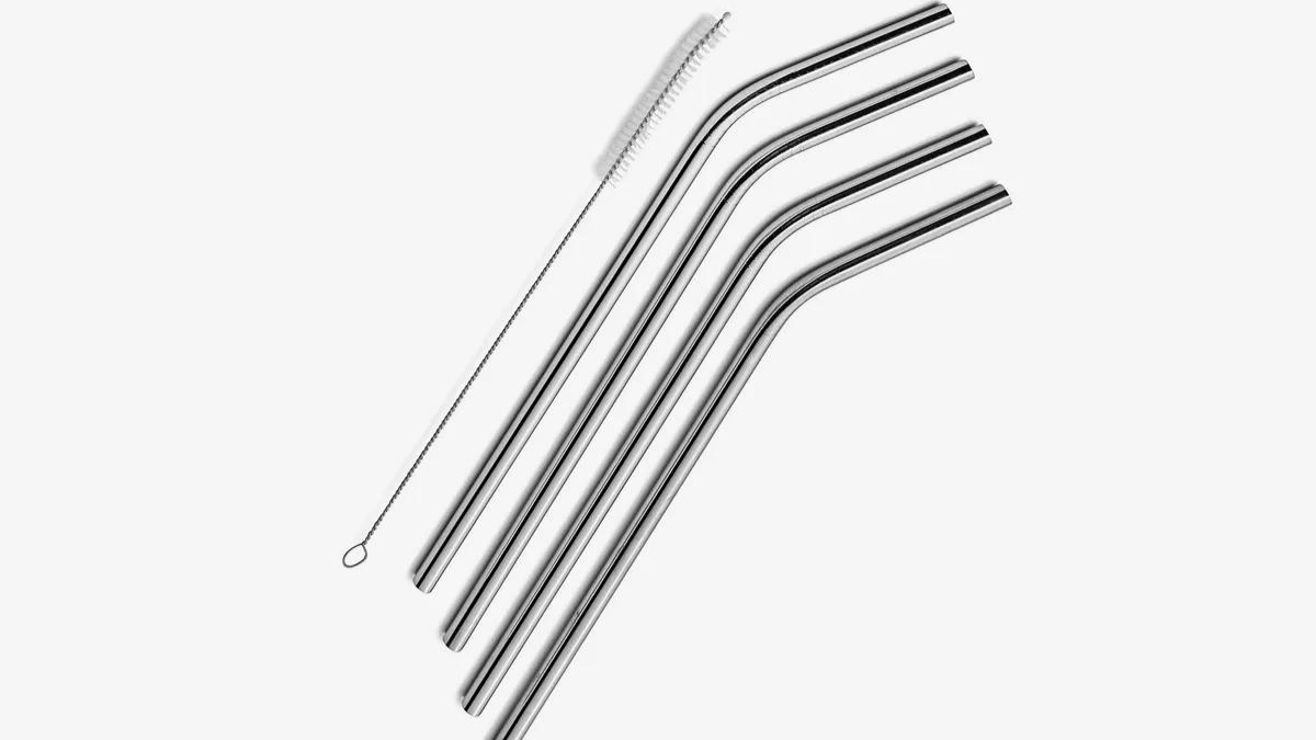 A collection of stainless steel straw on the white background.