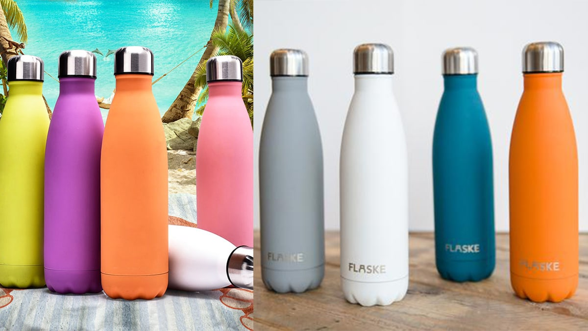 colorful steel bottles. From left: yellow, purple, orange, pink, grey, white, teal, and orange steel bottle.