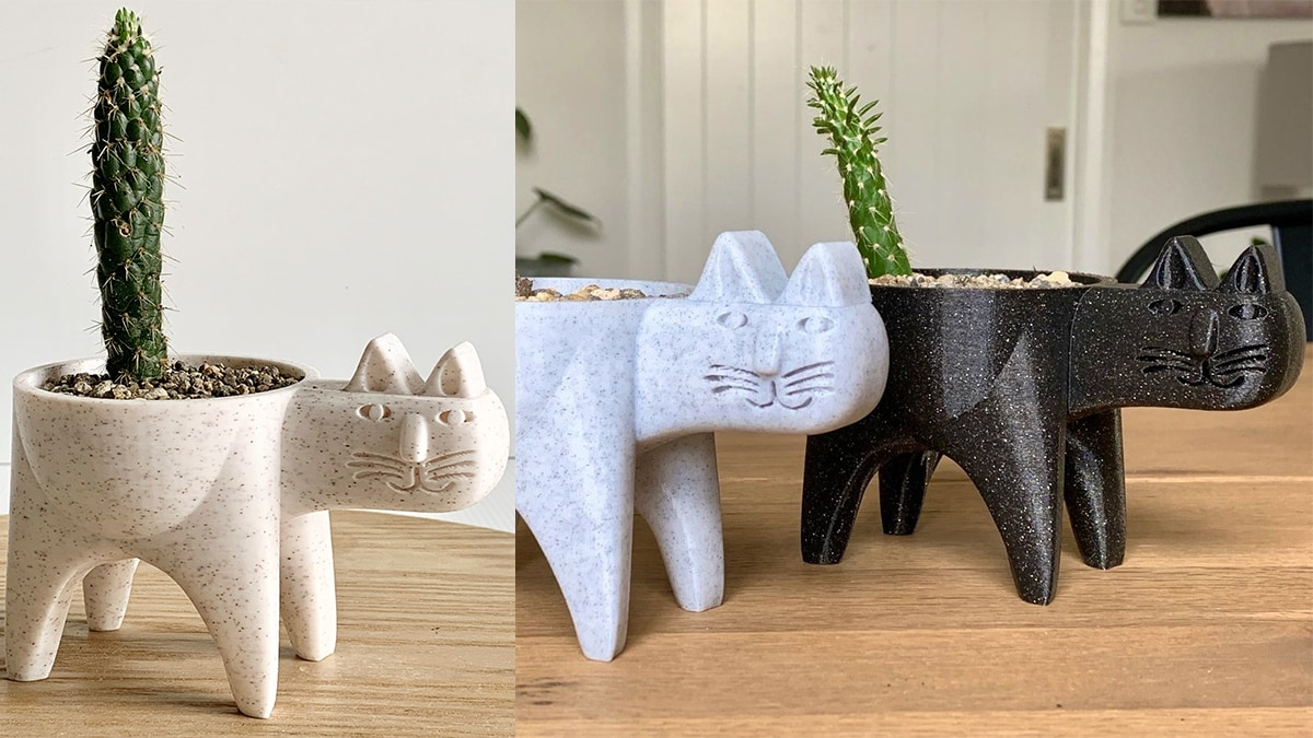 cute cat planters with cactus (succulents) growing in them