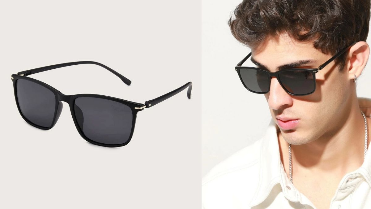 On left: black sunglasses. on the right: a man wearing the same sunglasses