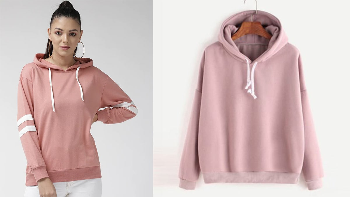 on the left: a woman wearing a pink sweatshirt. On the right: a pink sweatshirt against white background.