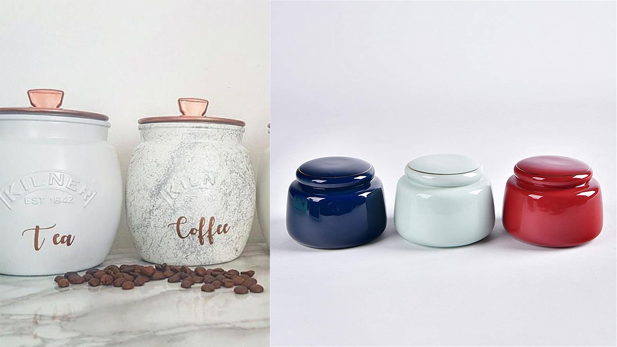 On left: Two tea caddies for eta and coffee. On right side: a blue, white, and red tea caddy.