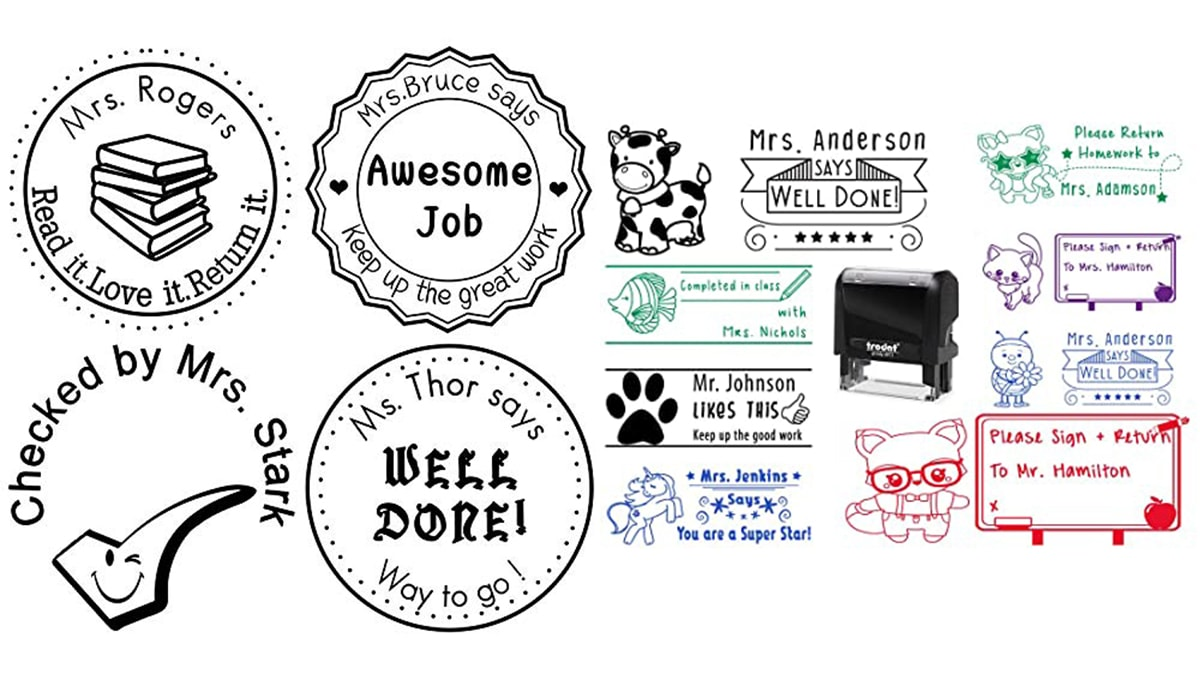 personalized teacher stamps impressions