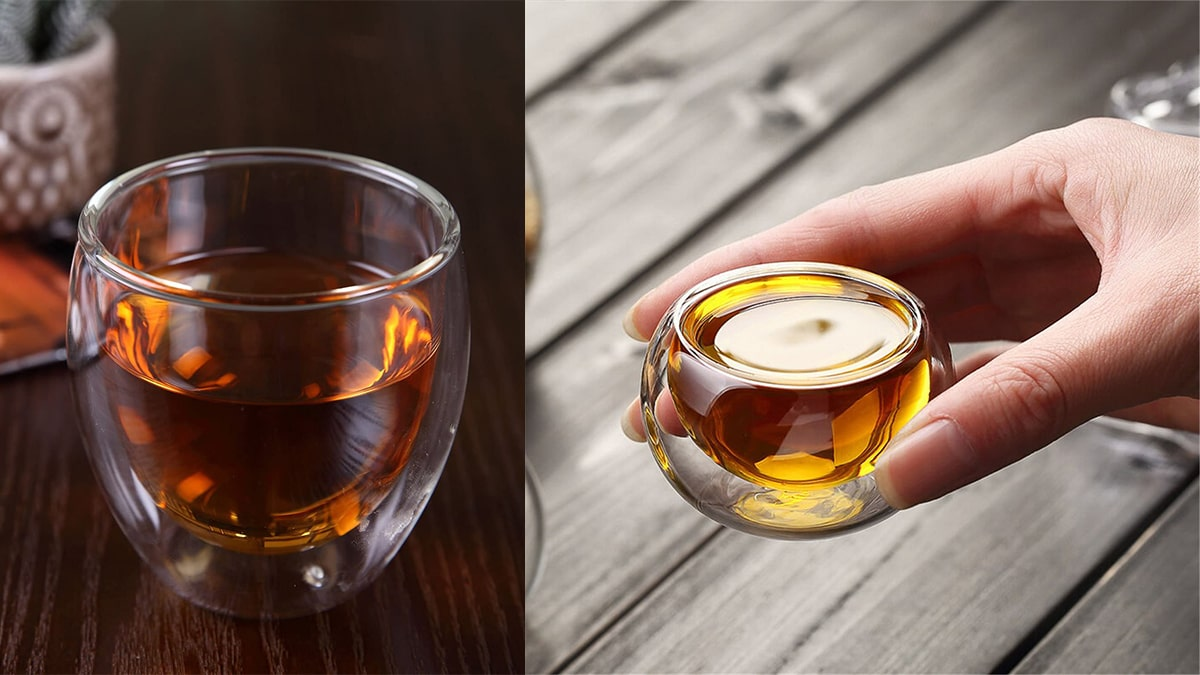 Thermal glass with hot green tea on left. on right is a person holding a warm drink in a tiny thermal glass.