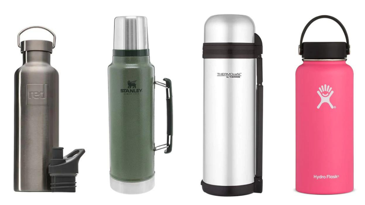 There are 4 types of thermos flasks placed on a white background.