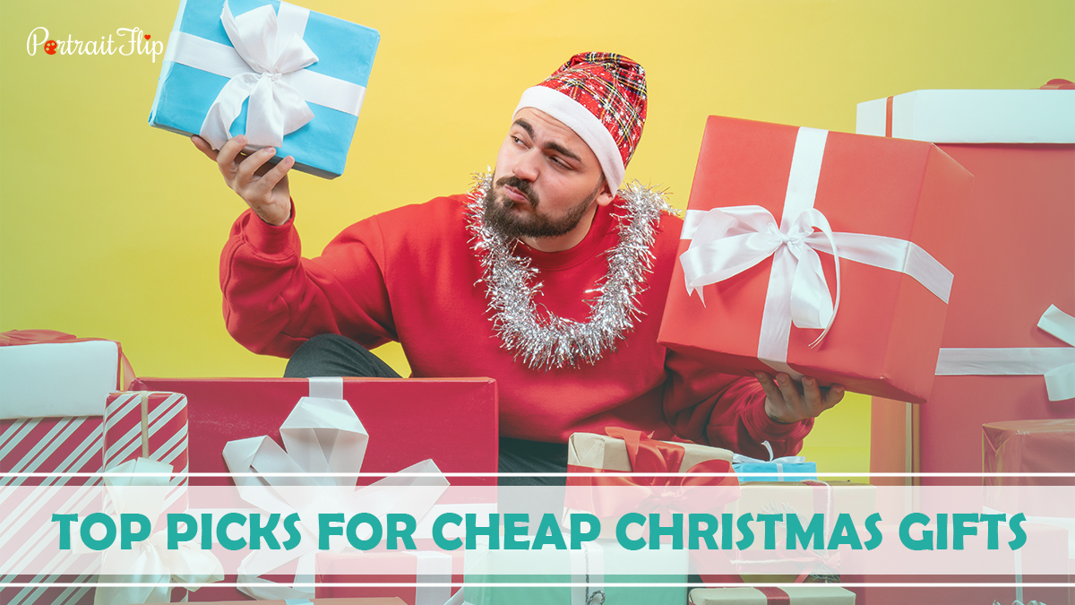 Top Picks For Cheap Christmas Gifts: A guy in beanie checking all the Christmas gifts he received.