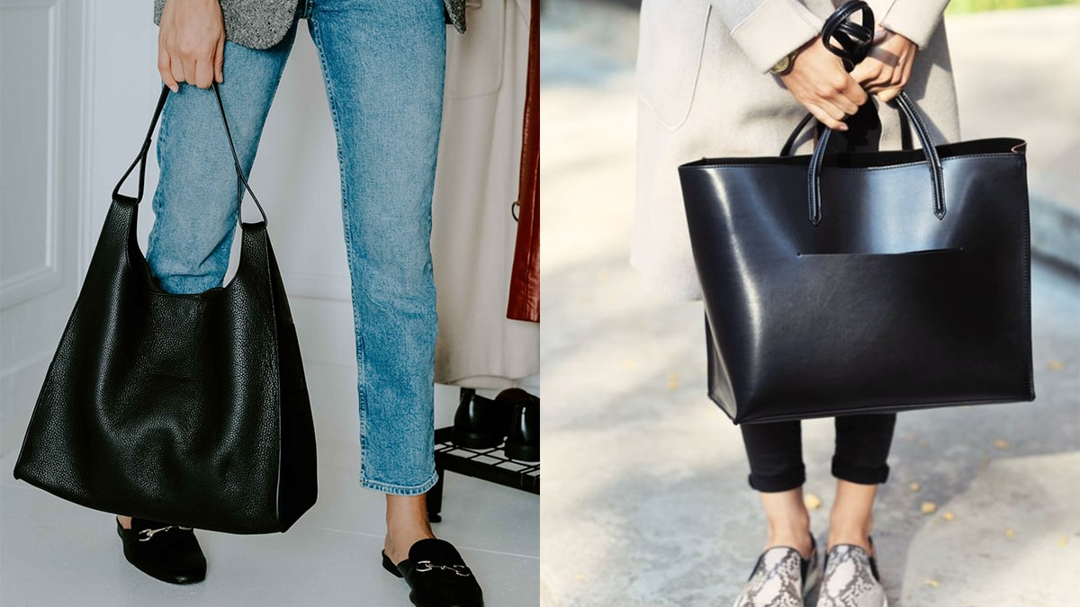 Two women holding sassy black tote bags