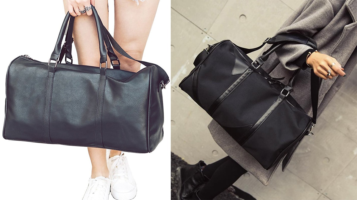 girls holding a black colored travel bag