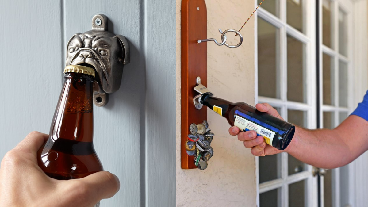 A man is opening his bottle opener from its wall mounted dog shaped bottle opener.