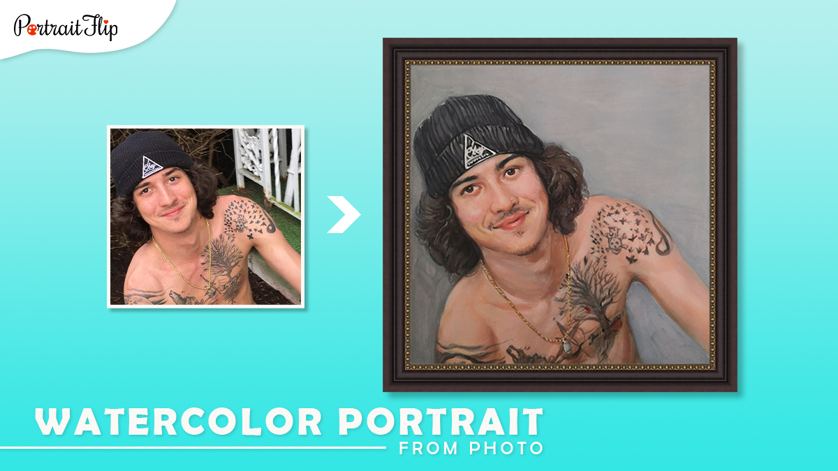 Christmas gifts ideas for him: A photo of smiling man is made into a watercolor portrait by artists of portraitflip