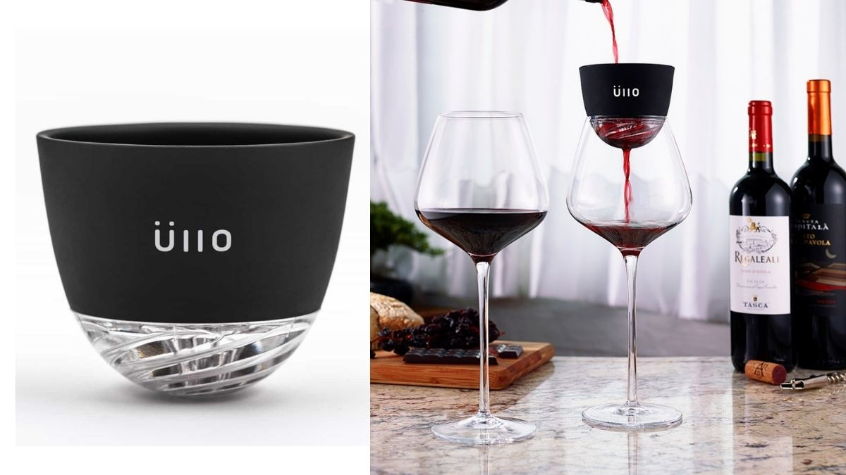 On Left: a wine aerating device. On the right: a wine is poured in a glass through a wine aerator.